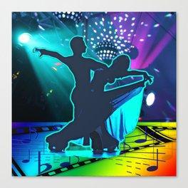 Dancing Couple Ballroom Waltz Stage Lights Music Symbols Canvas Print