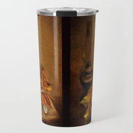 Vintage petroleum lamp, book and watch Travel Mug