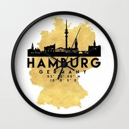 HAMBURG GERMANY SILHOUETTE SKYLINE MAP ART Wall Clock