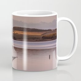 Sunset evening birds flocking over the Reservoir Coffee Mug