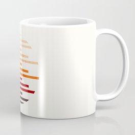 Mid Century Modern Minimalist Circle Round Photo Burnt Sienna Staggered Stripe Pattern Coffee Mug