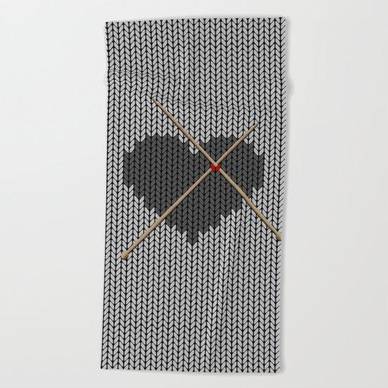 Original Knitted Heart Design Beach Towel