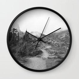 Northwest Mountain Hiking Trail Rocky Forest Black White Landscape Bellingham Washington Wall Clock