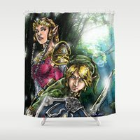 the legend of zelda Shower Curtains featuring The Legend of Zelda by MarioRojas