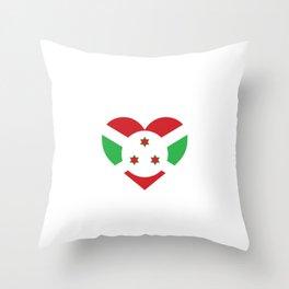 Burundi  love flag heart designs  Throw Pillow