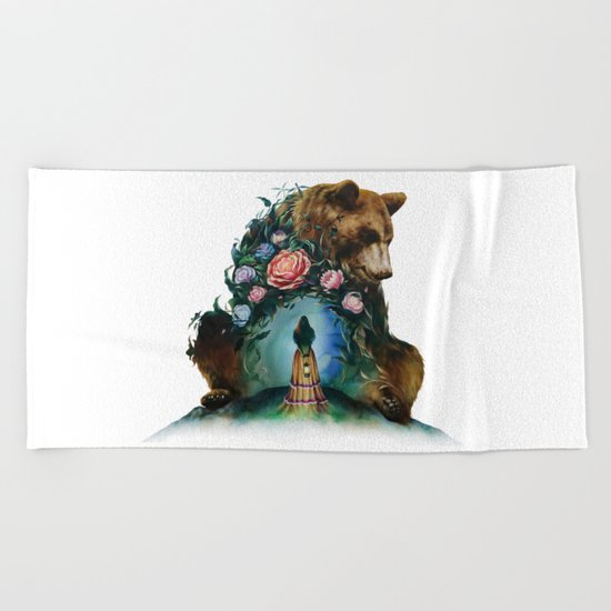 Flower & Bear Beach Towel