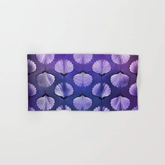 Blue sea geometric pattern texture on blurred background. Graphic illustration of seashells template Hand & Bath Towel