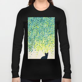Cat in the garden under willow tree Long Sleeve T-shirt