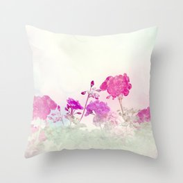 Spring floral composition made with colorful flowers on light pastel background. Geranium flowers. Throw Pillow