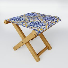 Close-up of blue, white and yellow ceramic wall tiles in Tavira, Portugal Folding Stool