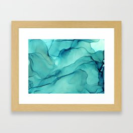 Turquoise Ink Waves Abstract Alcohol Ink Framed Art Print