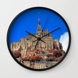 Autumn Shades of Mont Saint-Michel Wall Clock