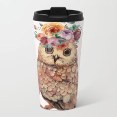 Owl with Flowers Metal Travel Mug