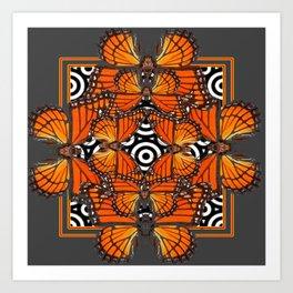 Monarch Butterflies Migration in orange & Grey Pattern Art Art Print