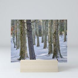 Mountain poplars. Spring snowstorm Mini Art Print