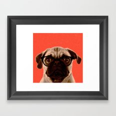Geek Pug in Red Background Framed Art Print