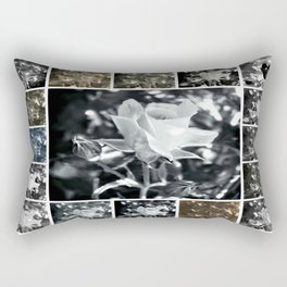 Black and White Rose Collage Rectangular Pillow