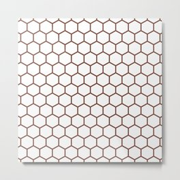 Honeycomb (Brown & White Pattern) Metal Print