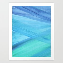 Blue Abstract Lines Art Print