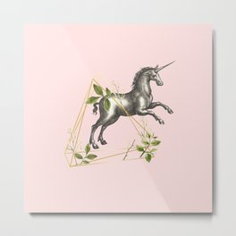UNICORN JUMPING OVER AN OBSTACLE  Metal Print