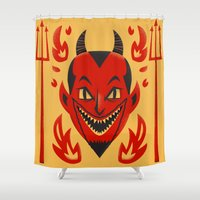 diablo Shower Curtains featuring El Diablo by John Clark IV