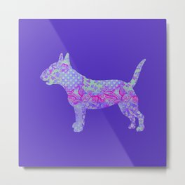 Bull Terrier Dog Vintage Floral Pattern Purple Violet Lilac Hot Pink Mint Metal Print