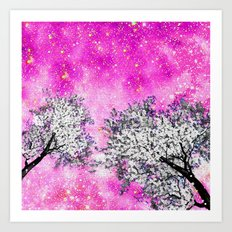 NEBULA  DREAMS TREES  PINK Art Print