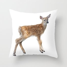 whitetail deer fawn watercolor, isolated on white background Throw Pillow