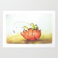 onward Art Prints featuring Onward! by Pish Posh!