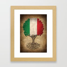 Vintage Tree of Life with Flag of Italy Framed Art Print