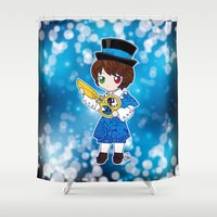 chibi Shower Curtains featuring Chibi Souseiseki by Yue Graphic Design