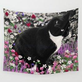 Freckles in Flowers II - Tuxedo Kitty Cat Wall Tapestry