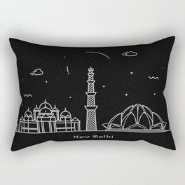 New Delhi Minimal Nightscape / Skyline Drawing Rectangular Pillow