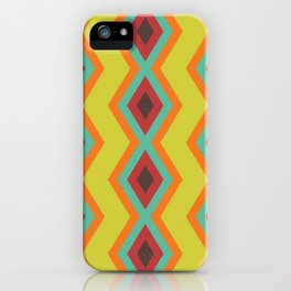 Geometric triangles pattern cool retro colors iPhone Case