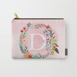 Flower Wreath with Personalized Monogram Initial Letter D on Pink Watercolor Paper Texture Artwork Carry-All Pouch