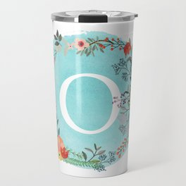 Personalized Monogram Initial Letter O Blue Watercolor Flower Wreath Artwork Travel Mug