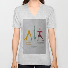 Screenprinted Yoga Art: Asanas - Wild Veda Unisex V-Neck