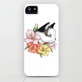 Cat Portrait in Gladiolus Flowers (Pink Edition) iPhone Case