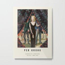 Poster-Per Krohg-Woman by a portiere. Metal Print