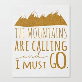 the mountains are calling gold glitter Canvas Print