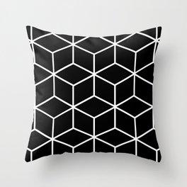 Black and White - Geometric Cube Design II Throw Pillow