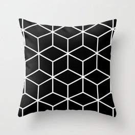 Black and White - Geometric Cube Design II Throw Pillow