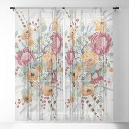 Fall Protea Bouquet Sheer Curtain