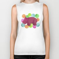 hippo Biker Tanks featuring Hippo by Katy Welte