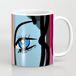 Red Blue Pop Girl Portrait Expressionist Art Coffee Mug