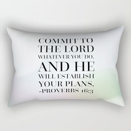 Proverbs 16:3 Bible Quote Rectangular Pillow