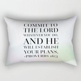 Proverbs 16:3 Bible Quote Rectangular Pillow
