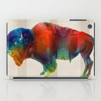 nfl iPad Cases featuring Buffalo Animal Print - Wild Bill - By Sharon Cummings by Sharon Cummings