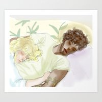 les mis Art Prints featuring Sleeping ExR Les Mis by Pruoviare