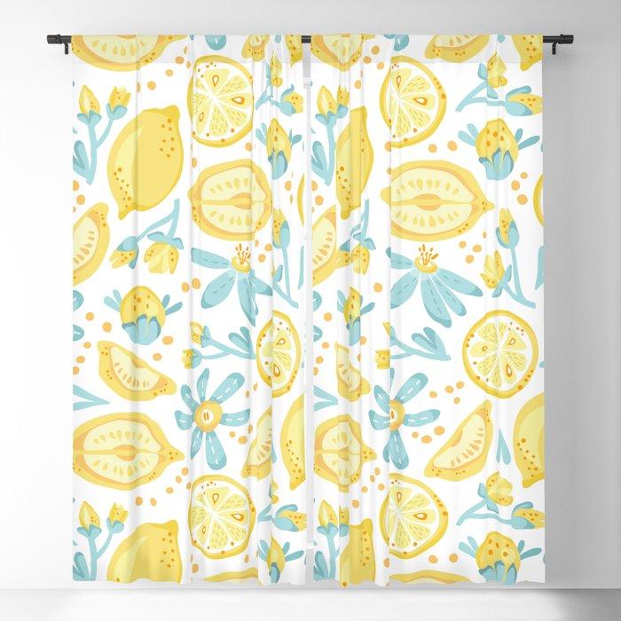 Lemon pattern White Blackout Curtain